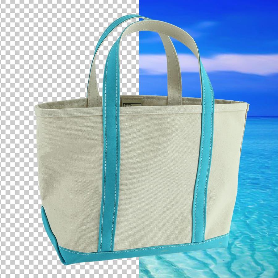 détourage d'une photo d'un sac de plage