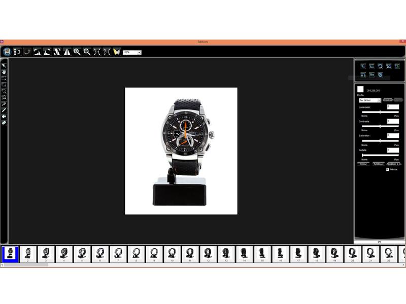 logiciel de traitement photo fond blanc montre