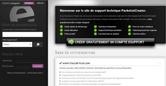 site de support technique de PackshotCreator