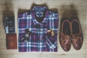disposition de vêtements pour une photo