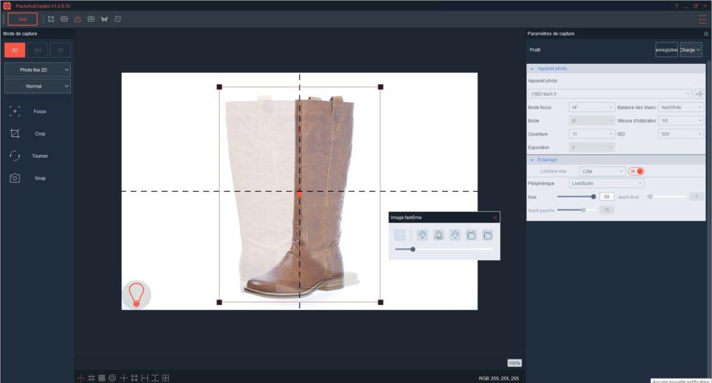 Logiciel photo packshot automatisation placement objet avec Image Fantôme