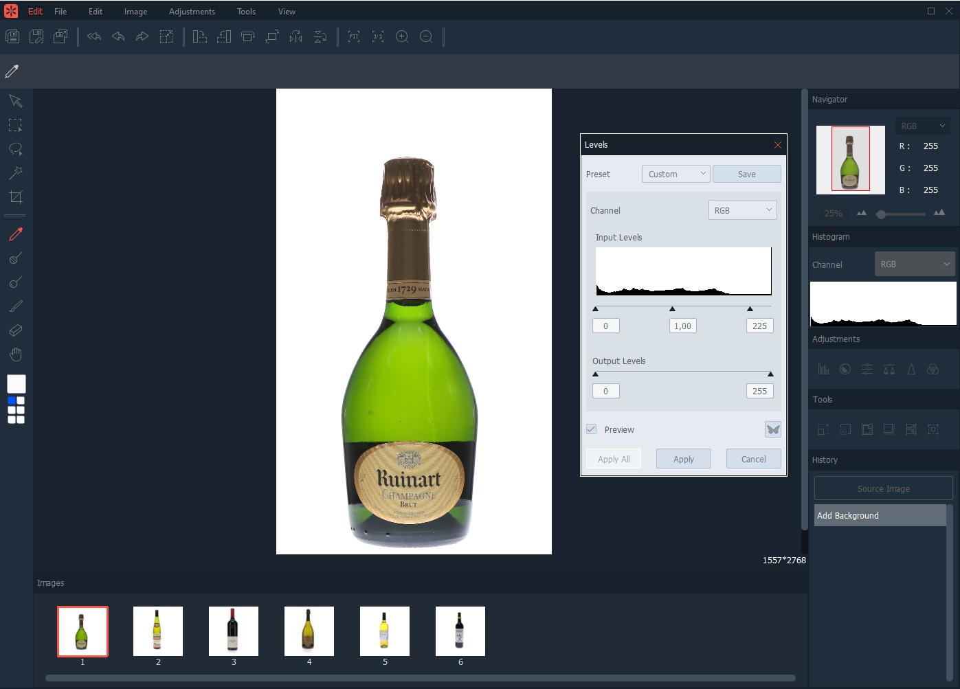 Comment retoucher plusieurs photos de bouteilles en même temps