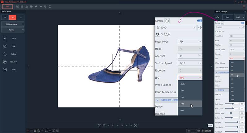 Réglages appareil photo Canon animation 360 de chaussure