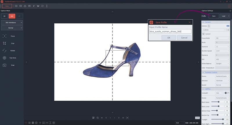 Réglages appareil photo animation 360 chaussures