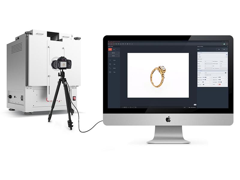 Studio photo 360 contrôlé par logiciel pour la photographie de bagues
