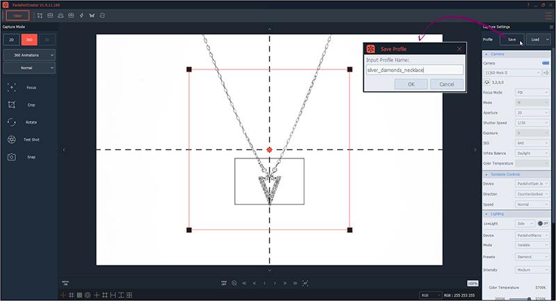 Enregistrer profil personnalisée pour photographie à 360° de collier