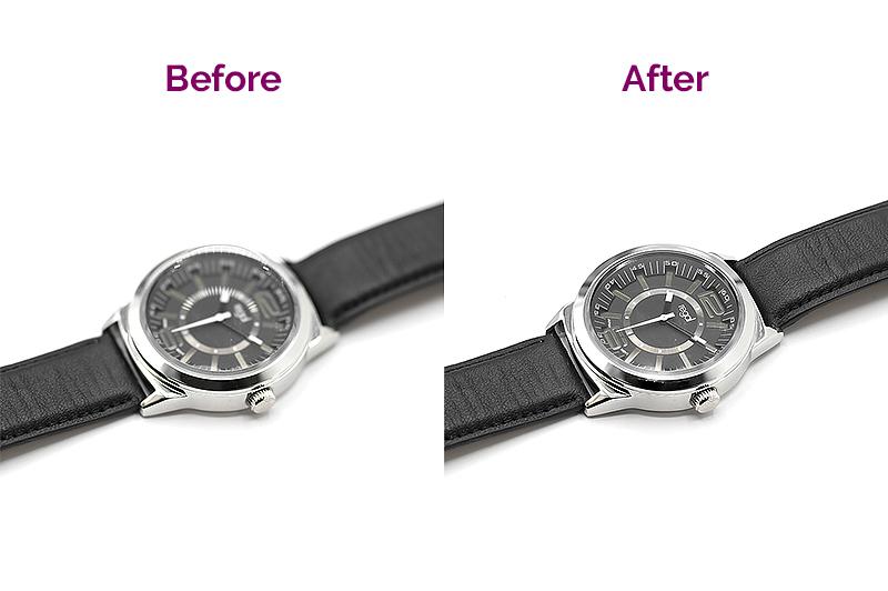 Avant et après un focus stacking manuel de montre