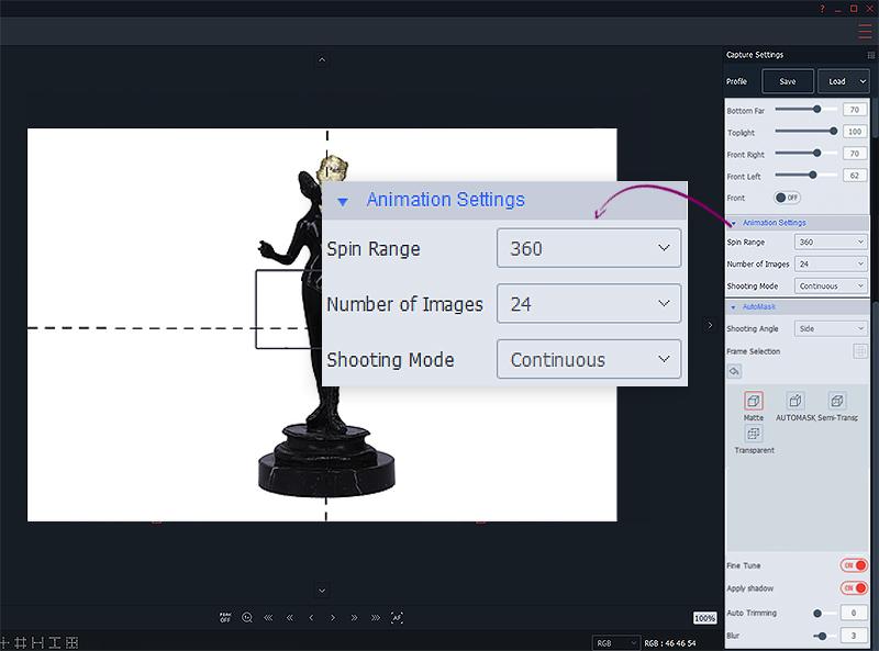 Réglages animation 3D objet d