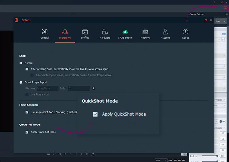 comment appliquer un mode quickshot sur le logiciel packshotcreator