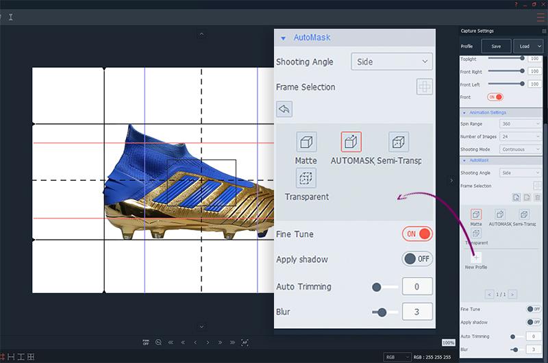 AutoMask presents on PackshotCreator software