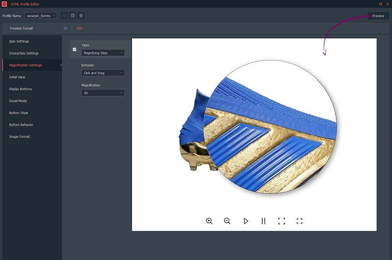 Préview animation 360° avec zoom chaussures