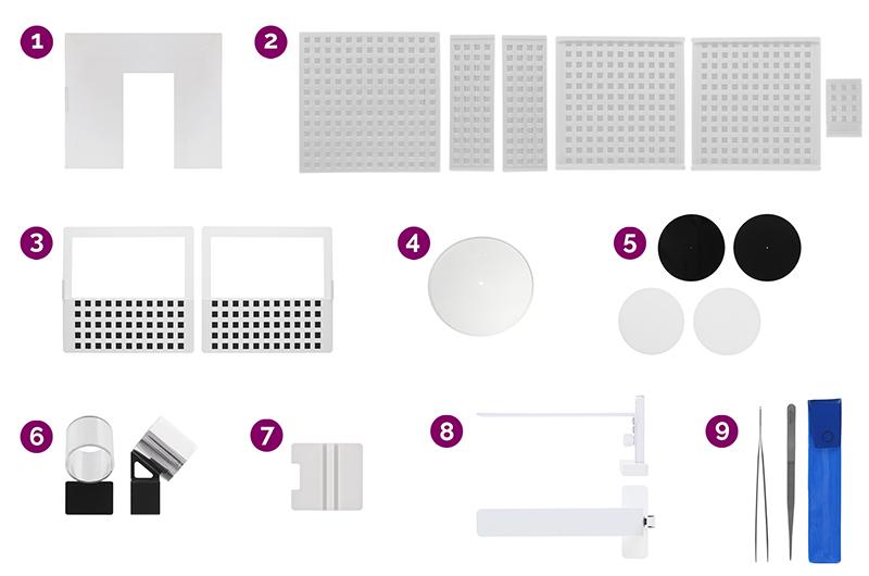 les accessoires du Loose Diamond Kit pour créer une vue à 360° du scintillement d